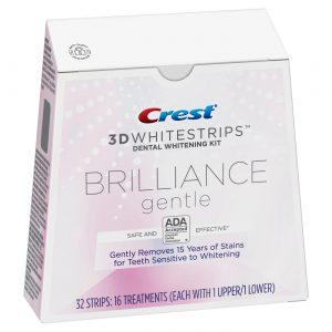 Bělicí pásky Crest 3D BRILLIANCE gentle – na citlivé zuby